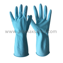 Flocked Blue Household Latex Glove