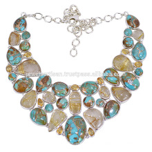 Collar de plata artesanal con turquesa, piedras citrinas y piedras de oro Rutilo