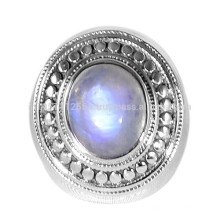Natural Rainbow Moonstone Gemstone com prata esterlina artesanal projetado anel de jóias