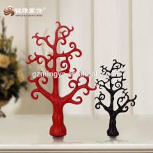 Decorative promotion gift vintage home decor red black tree shape resin figure