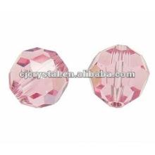 Perles rondes en verre, perles de verre, perles rondes roses