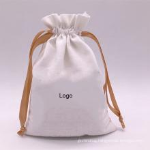 custom printed full color Muslin calico canvas string bag organic cotton drawstring bags with custom logo