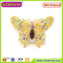 Broche borboleta de cristal personalizado brilhante com preço de fábrica