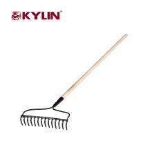 Barato diferentes tipos de herramientas de jardín 14 dientes de jardín rastrillo