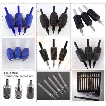 Professional Soft Disposable Rubber Tattoo Grips Tubes with Tattoo Needles