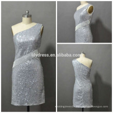 Latest Designs One Shoulder Custom Made Mini Cocktail Occasion Party CD071sexy silver sequin cocktail dress