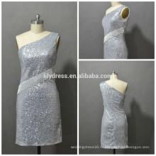 Последние дизайн одно плечо сшитое мини коктейль партии CD071sexy серебро блесток платье для коктейля