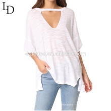 Wholesale Bamboo casual loose short sleeve cut-out women shirt