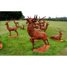 outdoor garden decorations metal craft cast iron deer statue