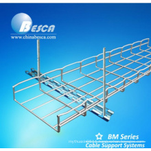 Zinc Plated steel wire mesh cable tray with threaded rod and Accessories