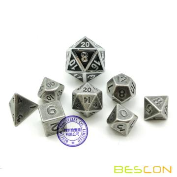 Bescon 10MM Mini Solid Metal Dice Set Old Nickle, Ancient Mini Metallic Polyhedral D&D RPG Miniature Dice 7-sets