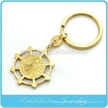 TKB-K0002 Llavero con medalla de exorcismo de San Benito en tono dorado