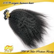 Indische verworrene gerade Spitze Haarverlängerungen Großhandel, Nagelspitze Haarverlängerung