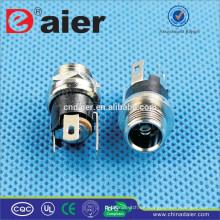Daier Black Metal 2.1mm / 2.5mm Fillet DC-025M1 Conector DC Power Jack / DC Power Jack / Enchufe eléctrico