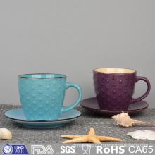 Colorful Glazed Embossed Ceramic Coffee Mug