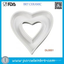 Placa de plato de cerámica de la forma del corazón de la decotación casera