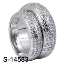 925 Sterling Silver Pavé Micro Anneaux Pour Couple (S-14583)