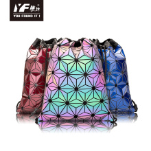 Geometric sequin for teenage girls backpack drawstring bag