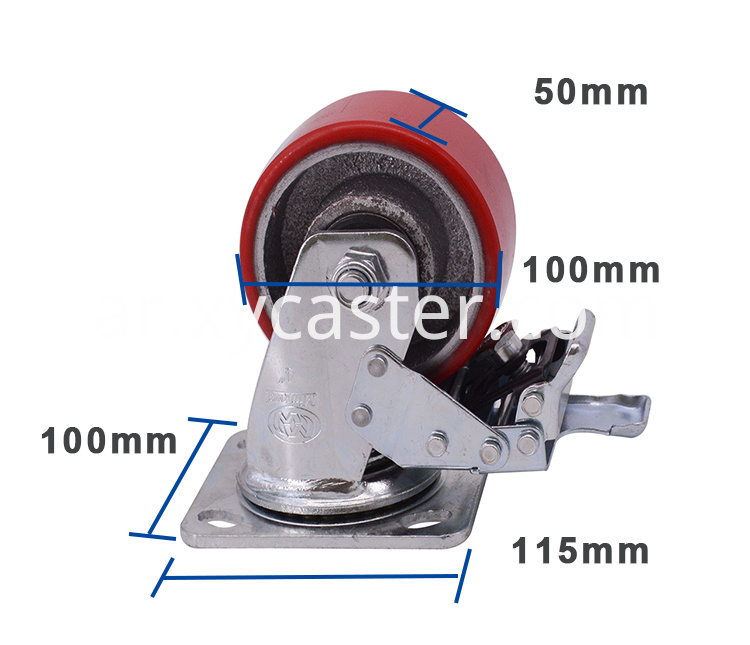 4 Inch Red Pu Caster With Brake