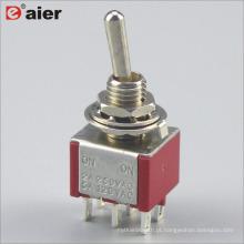 MTS-202 6MM Dois Pole 6 Pin ON-ON 2 Stage Interruptor De Alavanca Elétrica DPDT
