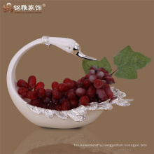 Guangzhou home decoration pieces animal sculpture polyresin swan fruit plate
