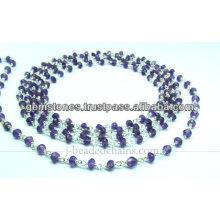 Rondelle Amethyst de plata natural talló la cadena moldeada, joyería al por mayor de la piedra preciosa