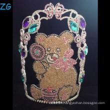 Colored Rhinestone Teddy Bear Crown, Custom Made Tiara