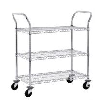 "4 ""Rollen Mesh Cart Rack mit 3 Regalen Draht Regal"