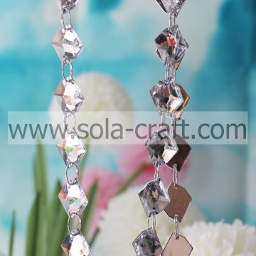 13*18MM Clear White Twist Leaf Diamond Swing Crystal Garland For Holiday Or Party