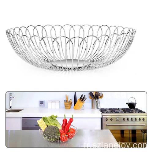 Modern Metal Wire Home Kitchen Decorative Table Iron Silver wire Vegetable Fruit Storage Basket