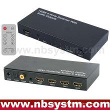 Conmutador HDMI con salida de audio (4xHDMI a la entrada, 1xHDMI + estéreo + Toslink óptico + salida coaxial) con control remoto