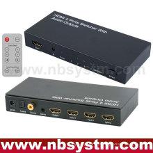 Comutador HDMI com saída de áudio (4xHDMI para entrada, 1xHDMI + Stereo + Optical Toslink + saída coaxial) com controle remoto