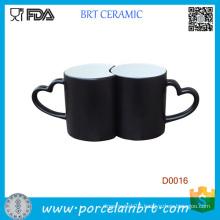 Hot Sale Heart Shape Ceramic Mug with Heart Shape Handle