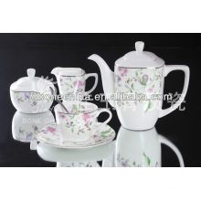 New Arrival Hot Sale eco-friendly colorful flower with gold line square designed Coffee Set