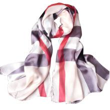 175cm long silk muslim pure silk women print plaid silk hijab scarf