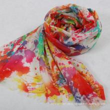 High quality .hot fashion elegant Digital printing 100% wool shawl
