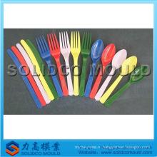 Пластиковый нож вилка ложка плесень, нож, плесень посуда