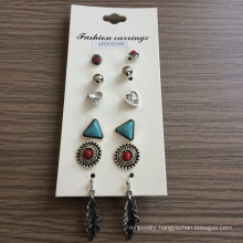 Retro Set Earrings with Heart-Shaped, Ball and Triangle