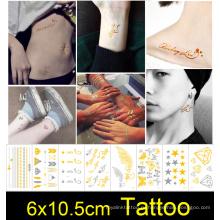 Безопасный металлический нетоксический хной временные татуировки наклейки рука