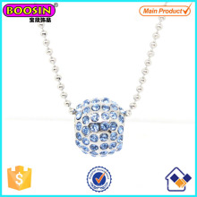 Fashion Metal Silver Crystal Slider Beads Charm Necklace #Scn006