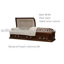 Pecan wood coffin/casket funeral carton package