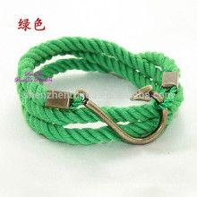 Vente en gros Forme Fish Hook Bracelet Anchor Nautical Rope Bracelet Men Jewelry