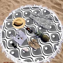 100% cotton black and white amazing line Round Beach Towel RBT-164