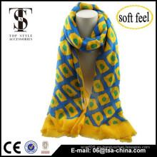 Dos impresiones de color brillante cheques de punto de diseño blend suave bufanda