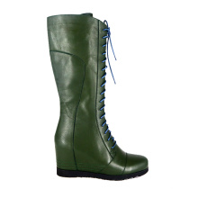 2020 New arrivals designer winter shoes football boot fur boots high heel wedge green lace up western long boots