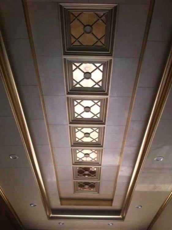 aluminum ceiling tiles in hall way