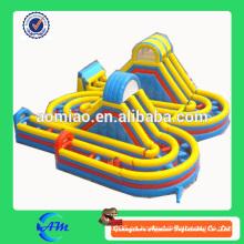 Obstáculo inflable al aire libre curso equipo obstáculo inflable