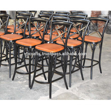 Industrial Leather Cross Back Bar Chair