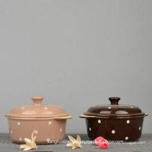 Glasierte Farbe gepunktete Design Keramik Terrine