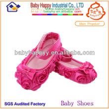 Proveedor de Shenzhen Rosas de moda Rosetón Lace Girl Baby Dress Shoes